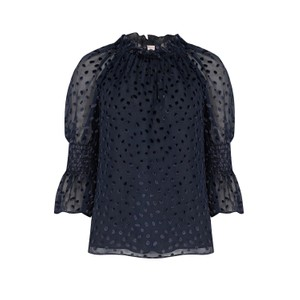 Rebecca Taylor Long Sleeve Velvet Dot Blouse in Navy
