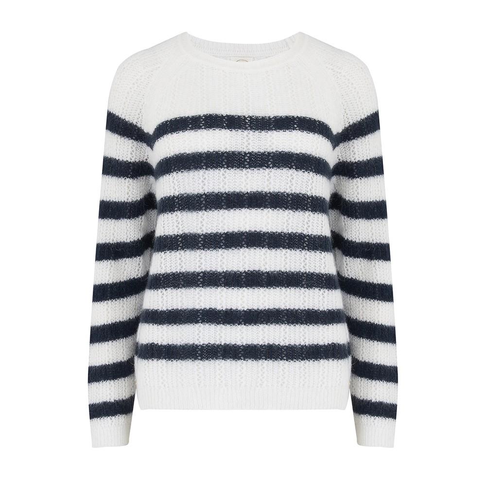 Des Petits Hauts Biscotte Stripe Sweater in Ecru/Marine White