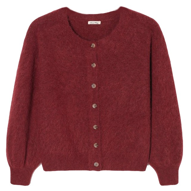 American Vintage Nua Sky Cardigan in Cranberry Red