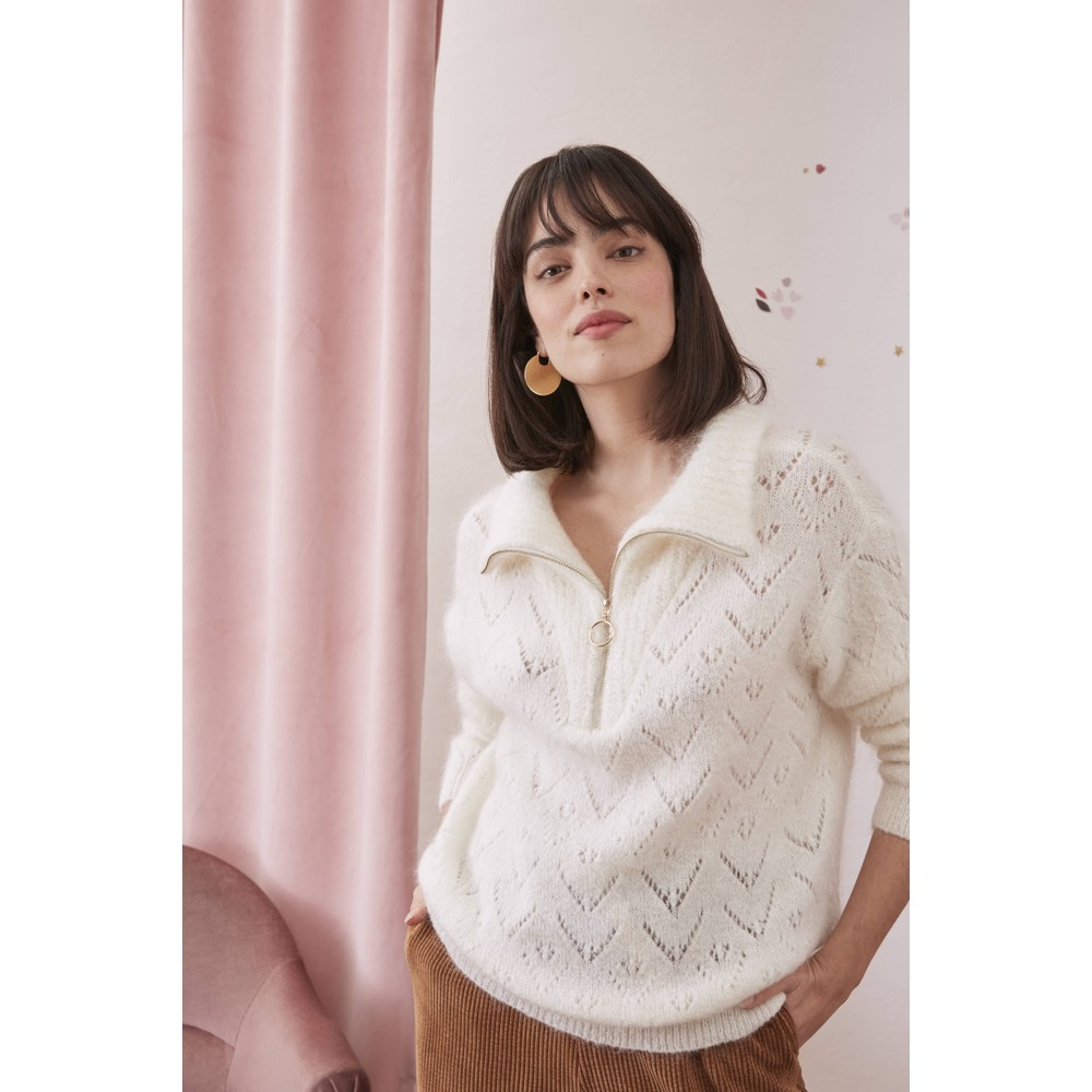 Des Petits Hauts Buzette Sweater in Ecru White