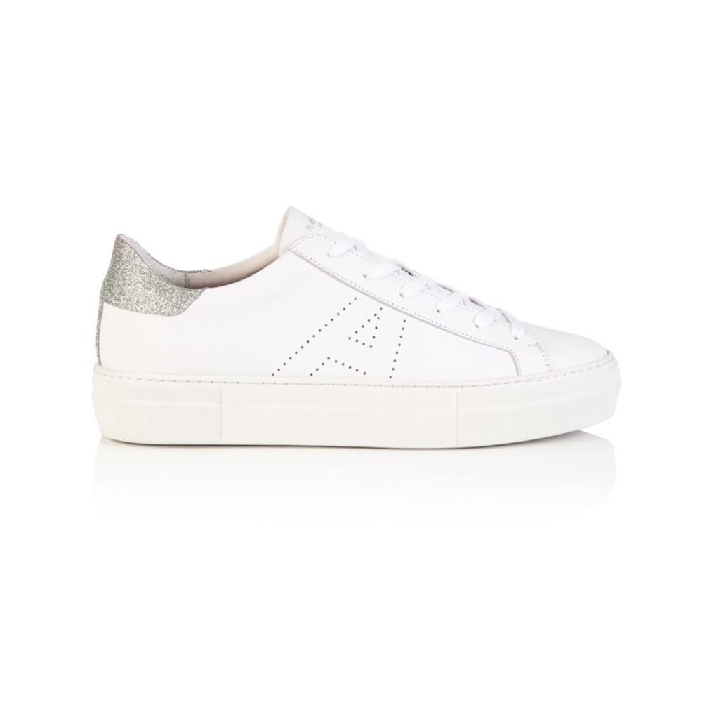 Air & Grace Roxy Lea Trainers in White & Silver Glitter White