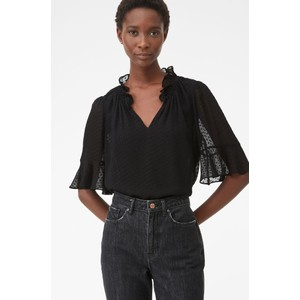 Rebecca Taylor Dot Clip Flutter Sleeve Blouse in Black