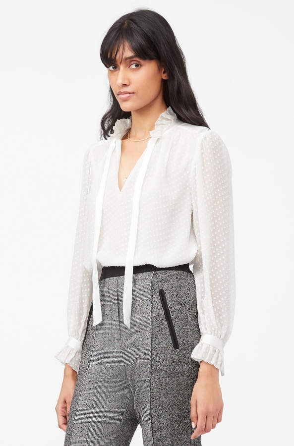 Rebecca Taylor Long Sleeve Dot Clip Blouse in Snow White