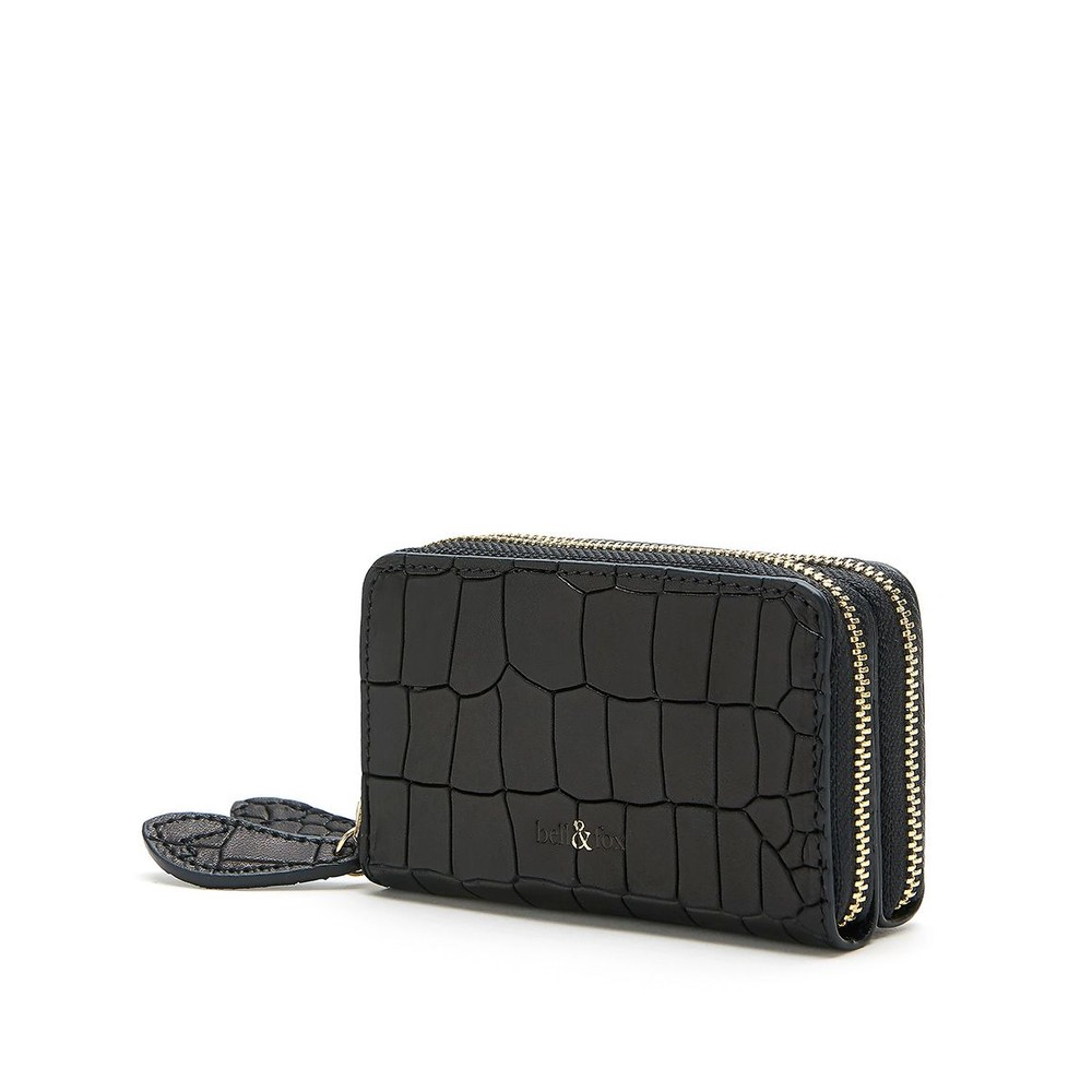 Bell & Fox Ava Mini Star Purse in Black Leather Croc Black