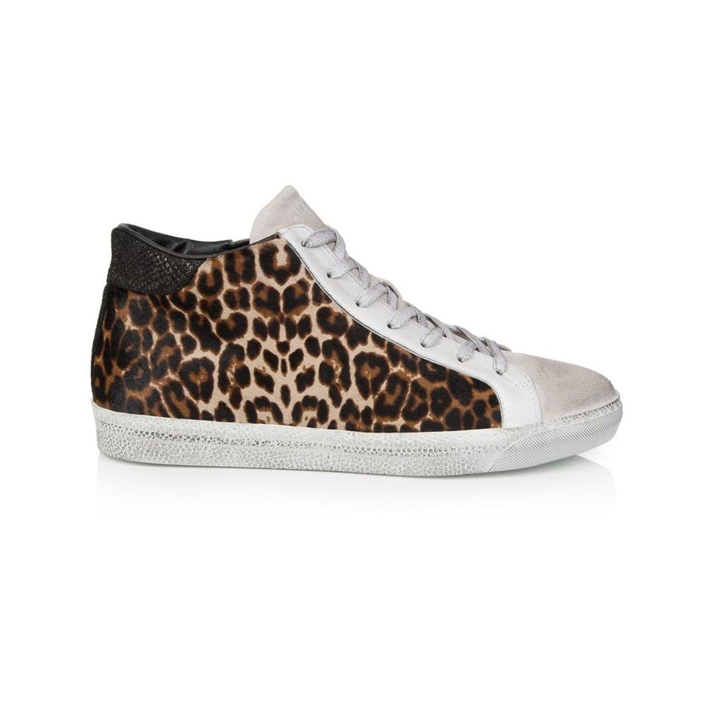 Air & Grace Alto Leopard Print Leather High Top Trainer Leopard