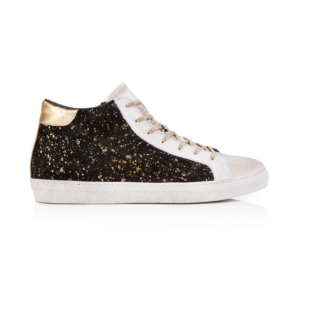 Air & Grace Alto Suede High Top Trainer in Black/Gold Black