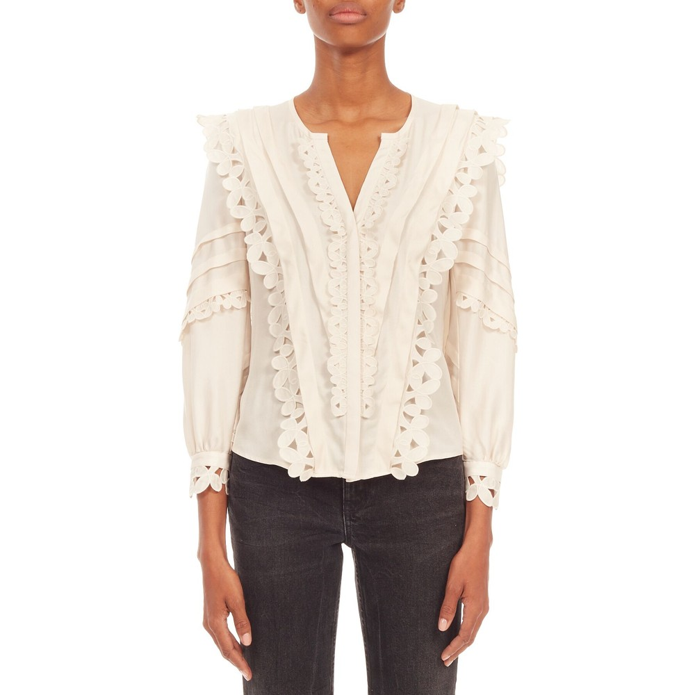 Rebecca Taylor Long Sleeve Embroidered Blouse in Cream Cream