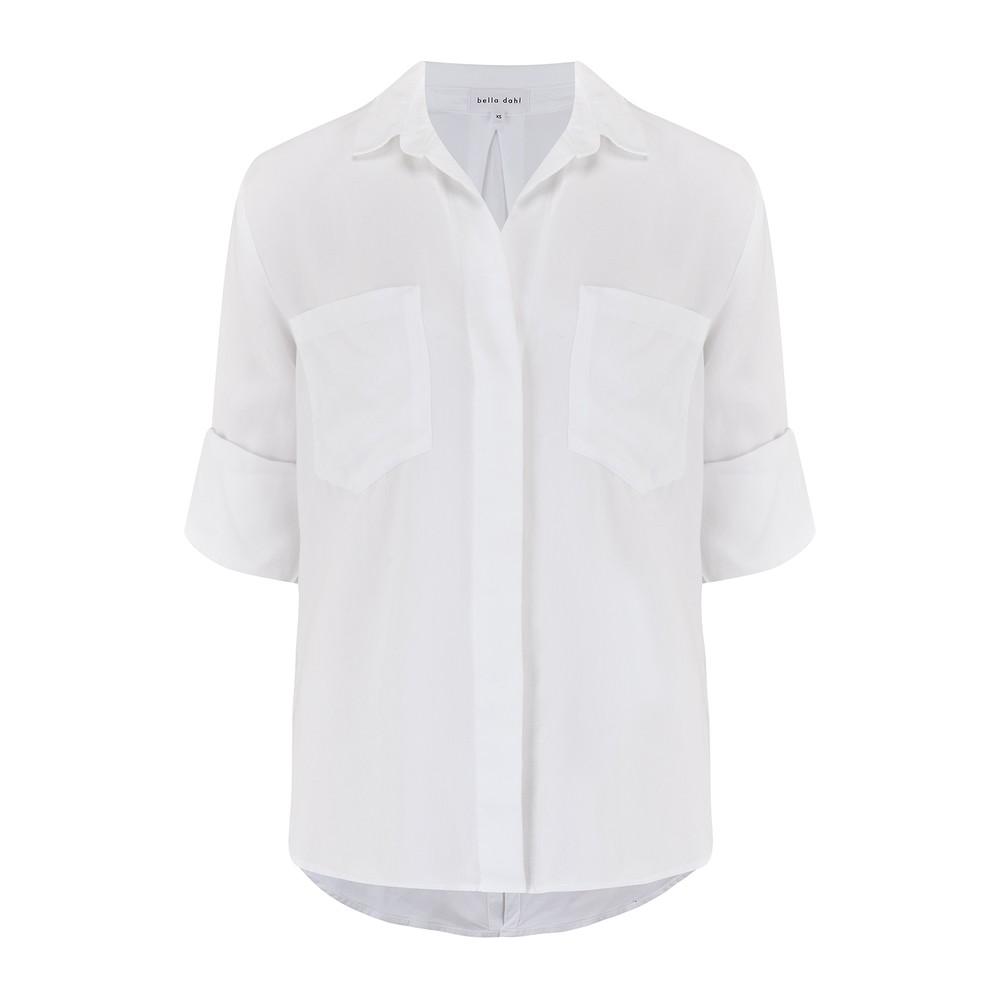 Bella Dahl Split Back Button Down Shirt White