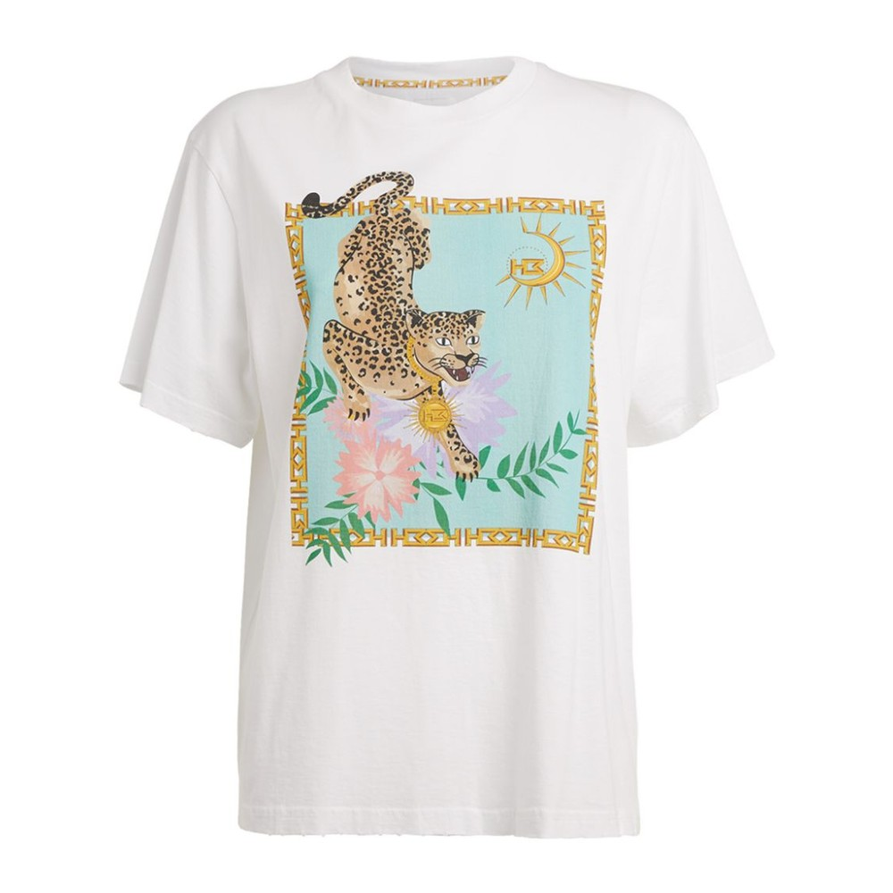 Hayley Menzies Enchanted Leopard Cotton T Shirt White