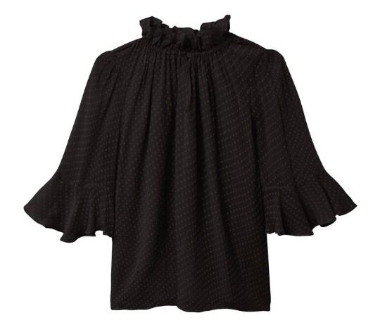 Rebecca Taylor Dot Clip Flutter Sleeve Blouse in Black Black
