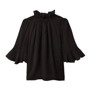 Rebecca Taylor Dot Clip Flutter Sleeve Blouse in Black