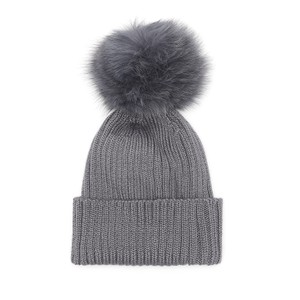 Jay Ley Pom Pom Hat in Cream in Grey