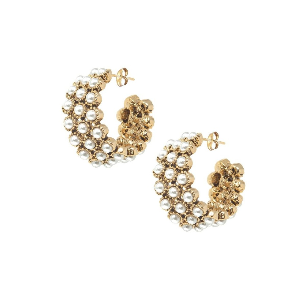 Ashiana Kelly Pearl Hoop Earrings White