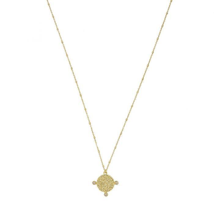 Ashiana Sophie Coin Pendant Necklace in Labradorite Black