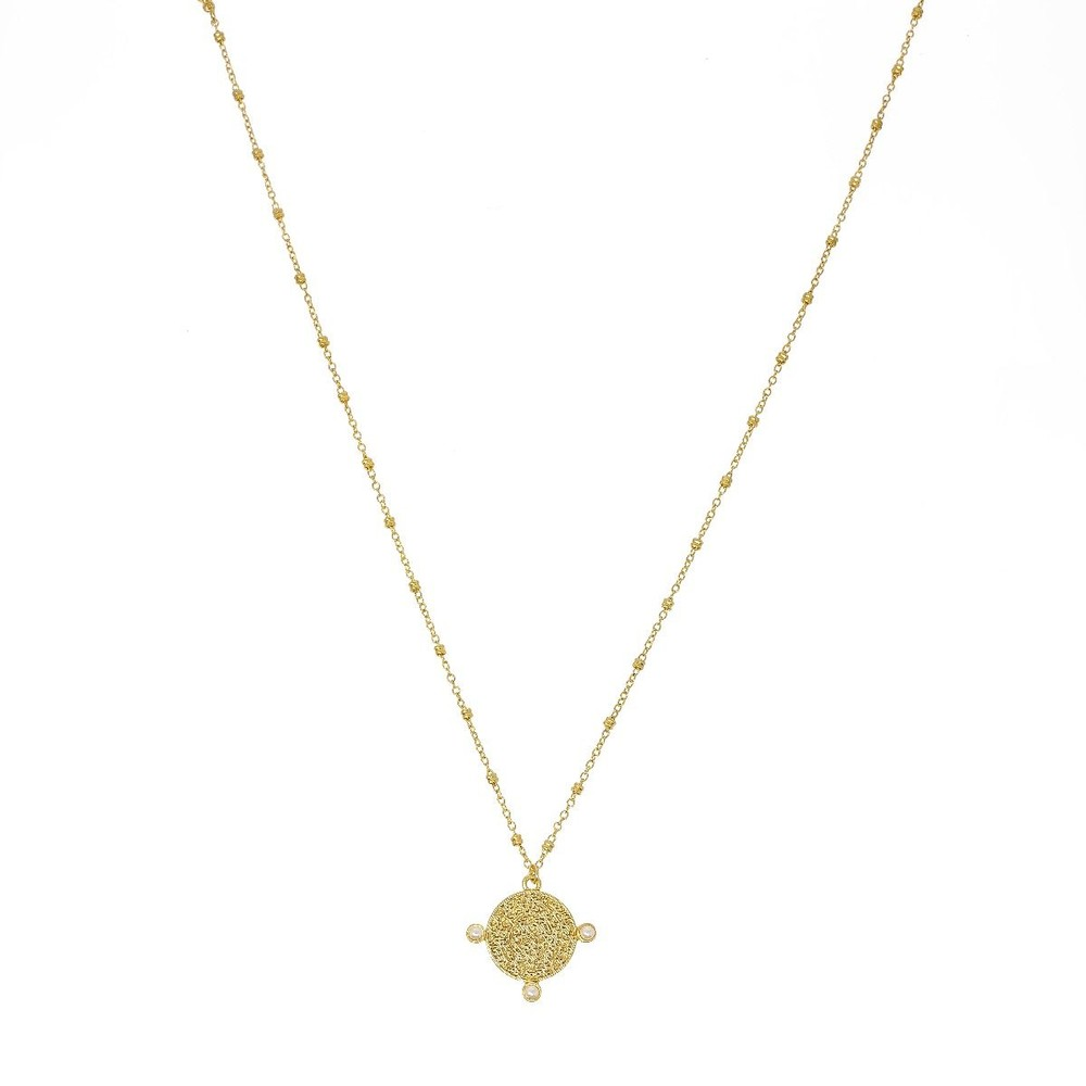 Ashiana Sophie Coin Pendant Necklace in Pearl White