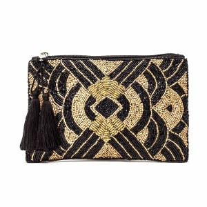 Ashiana Chrysler Beaded Pouch in Black & Gold