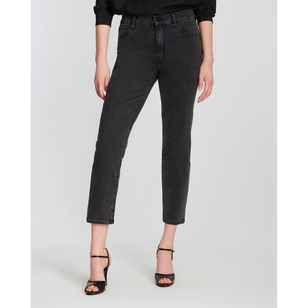 J Brand Alma High Rise Straight Jeans in Affect Black