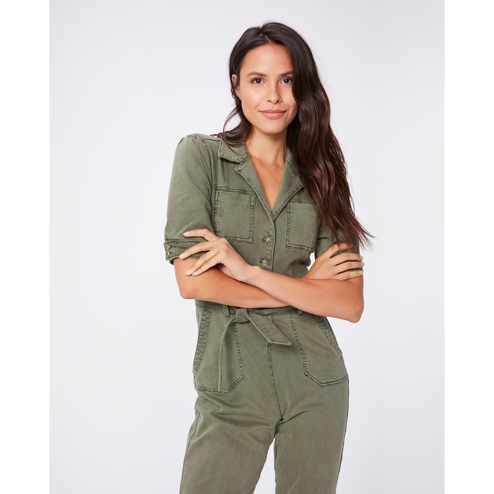 Paige Mayslie Jumpsuit in Vintage Ivy Green KHAKI