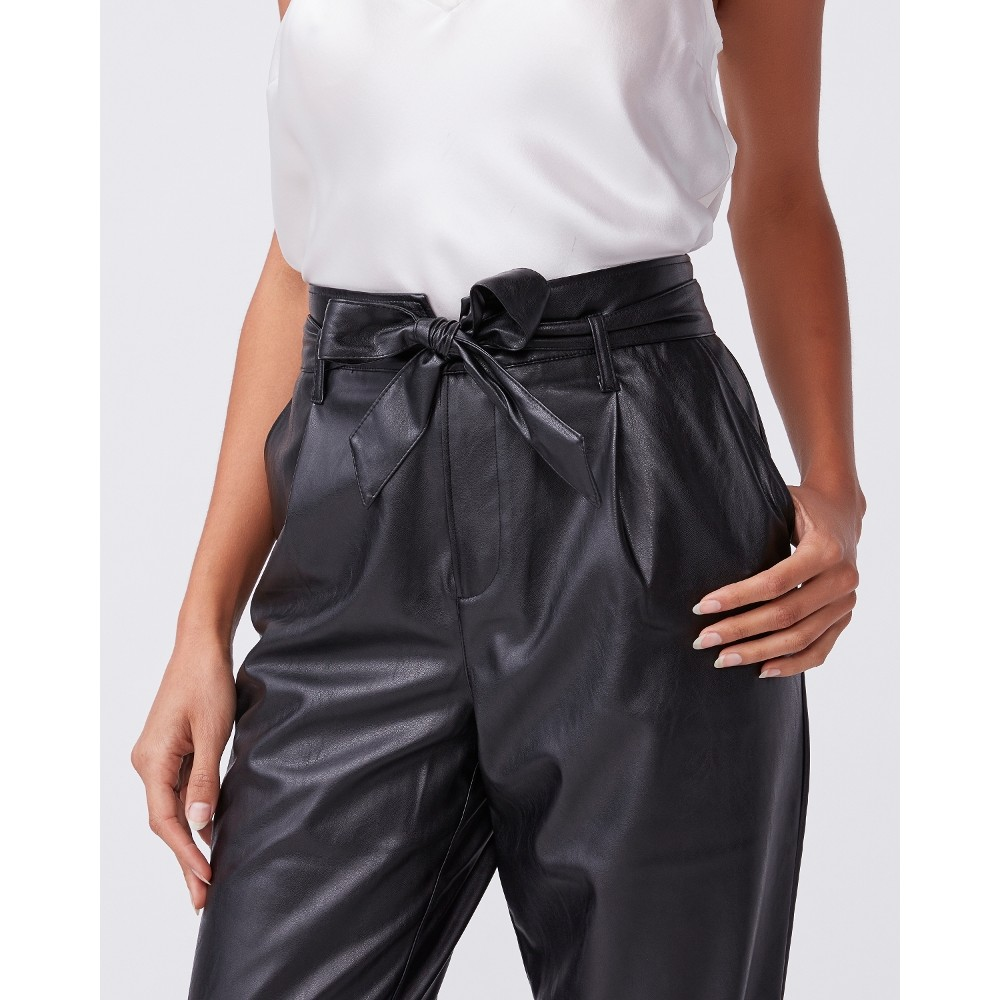 Paige Melila Trousers in Black Vegan Leather Black