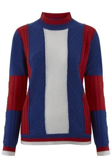 Madeleine Thompson Roxanne Jumper in Blue, Red & Cream Multicoloured
