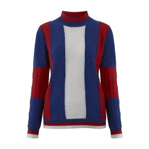Madeleine Thompson Roxanne Jumper in Blue, Red & Cream