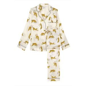 Yolke Silk Classic Pyjama Set in Prowling Leopard