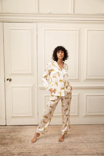 Yolke Silk Classic Pyjama Set in Prowling Leopard White