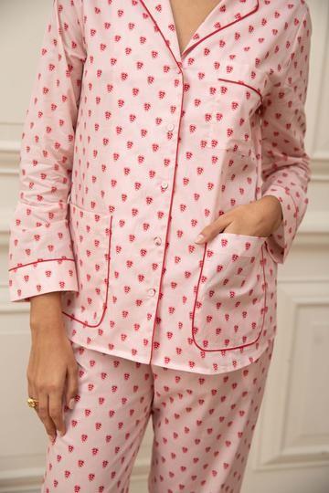 Yolke Cotton Classic Pyjamas Set in Queen of Hearts Pale Pink