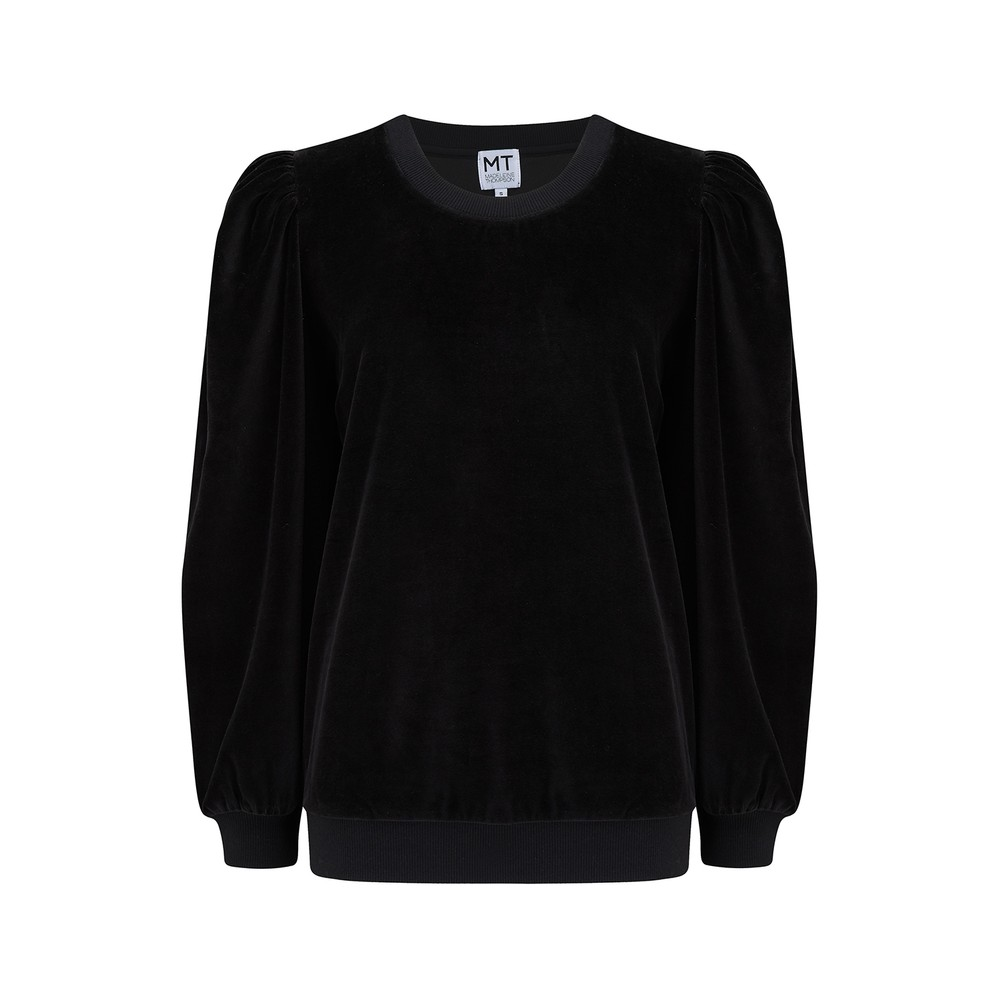 Madeleine Thompson Hilary Sweatshirt in Black Velour Black
