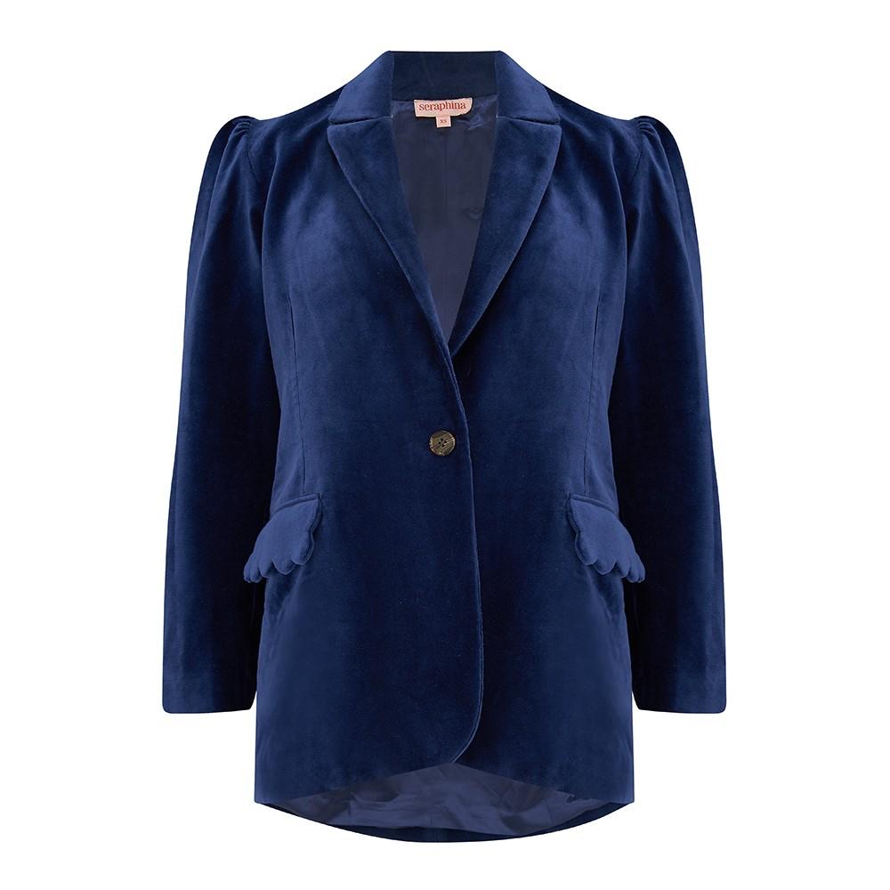 Seraphina The Tux Jacket in Navy Blue Cotton Velvet Blue