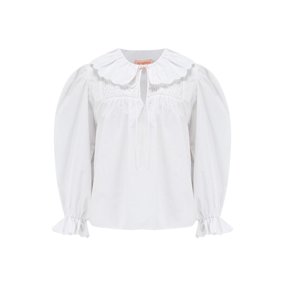 Seraphina Petal Blouse in White Poplin White