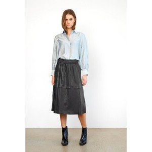 Second Female Melvin Leather Midi Skirt in Black