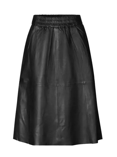 Second Female Melvin Leather Midi Skirt in Black Black
