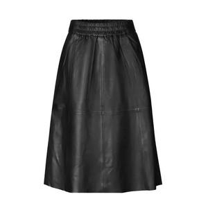 Second Female Melvin Leather Midi Skirt in Black