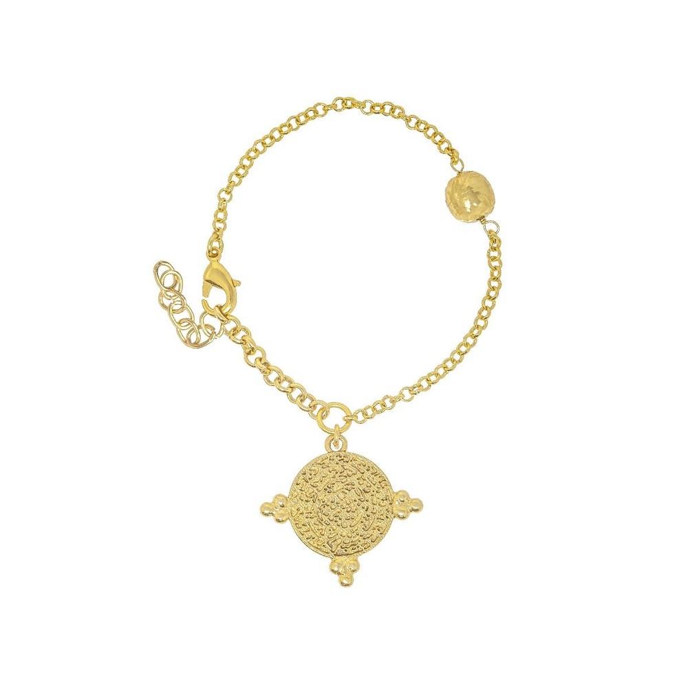 Ashiana India Gold Coin Bracelet Gold