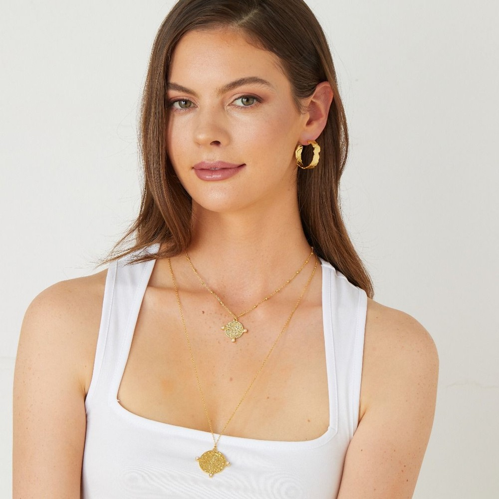 Ashiana India Long Coin Pearl Necklace Gold