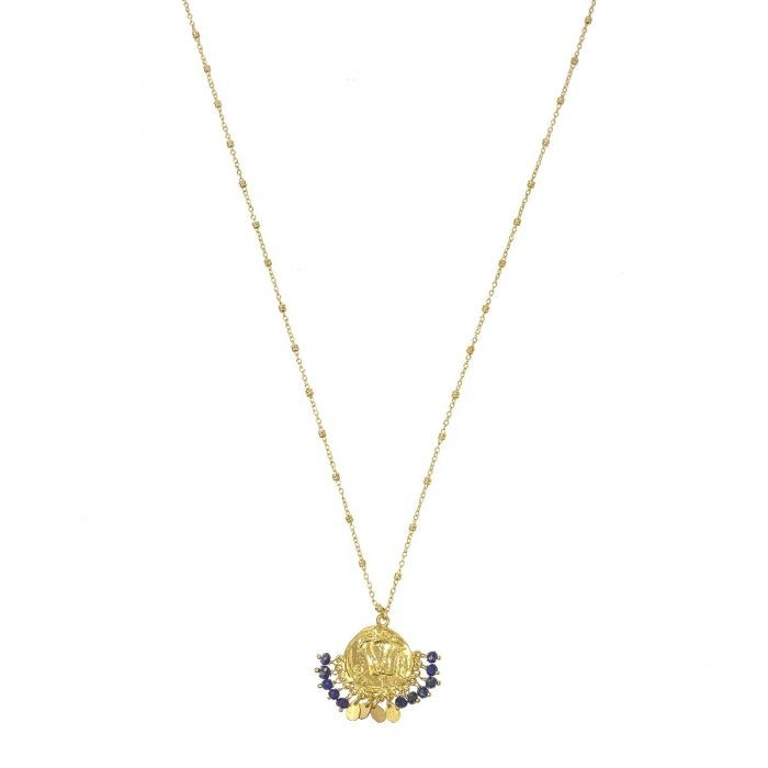 Ashiana Lily Beaded Coin Necklace Gold