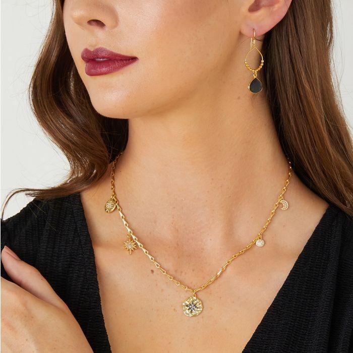 Ashiana Black Star Necklace Gold