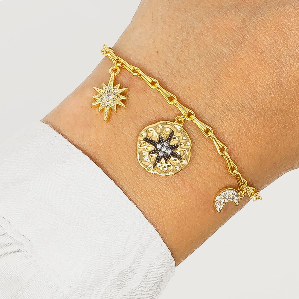 Ashiana Black Star Bracelet Gold
