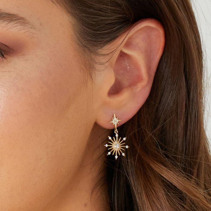 Ashiana Northern Star Stud Earrings Gold