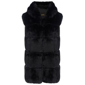 Jay Ley Faux Fur Hooded Gilet in Black