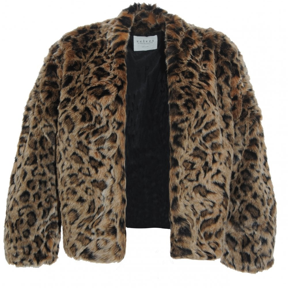 Velvet Anne Faux Fur jacket Brown