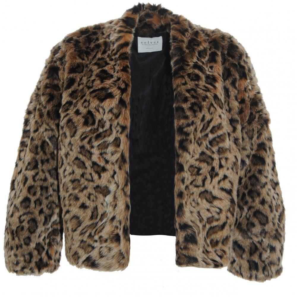 Velvet Anne Faux Fur jacket Brown