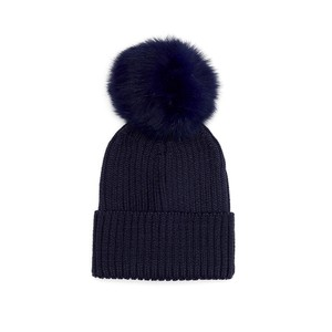 Jay Ley Pom Pom Hat in Grey in Navy