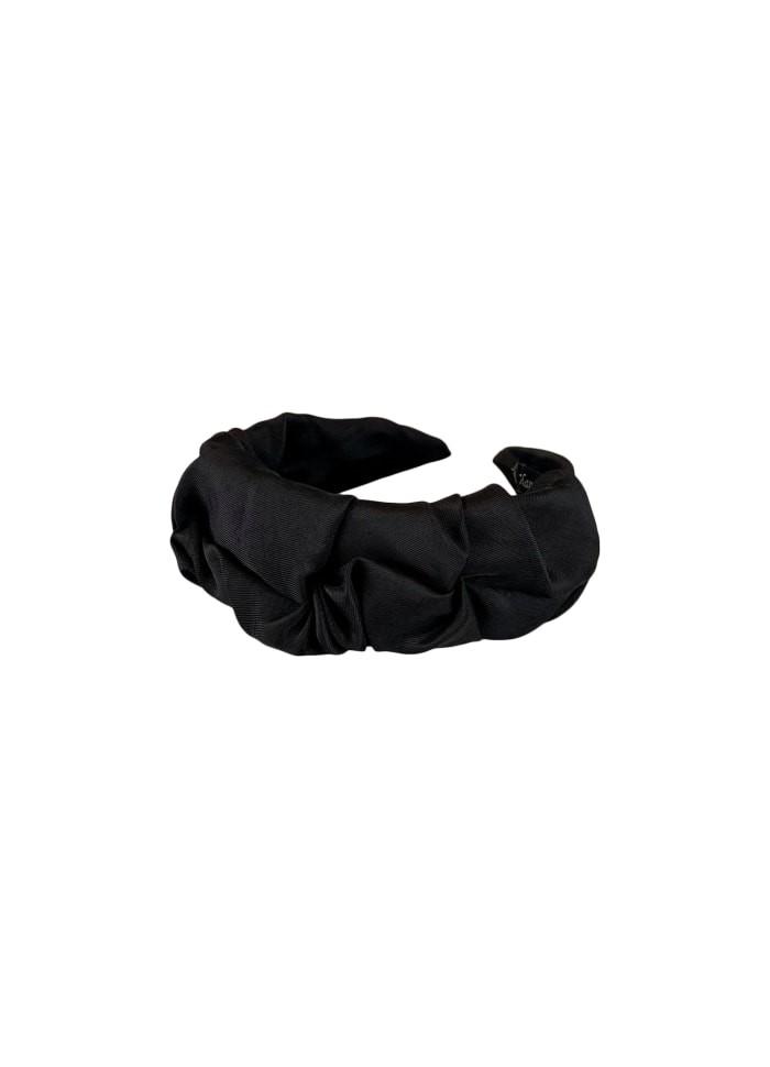 Black Colour  Drape Satin Headband Black