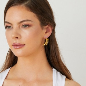 Ashiana Feather Hoop Earrings