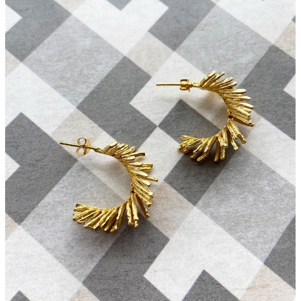 Ashiana Feather Hoop Earrings Gold