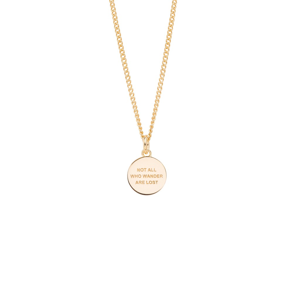 Tilly Sveaas Small Gold Compass/Not All Who Wander Necklace Gold