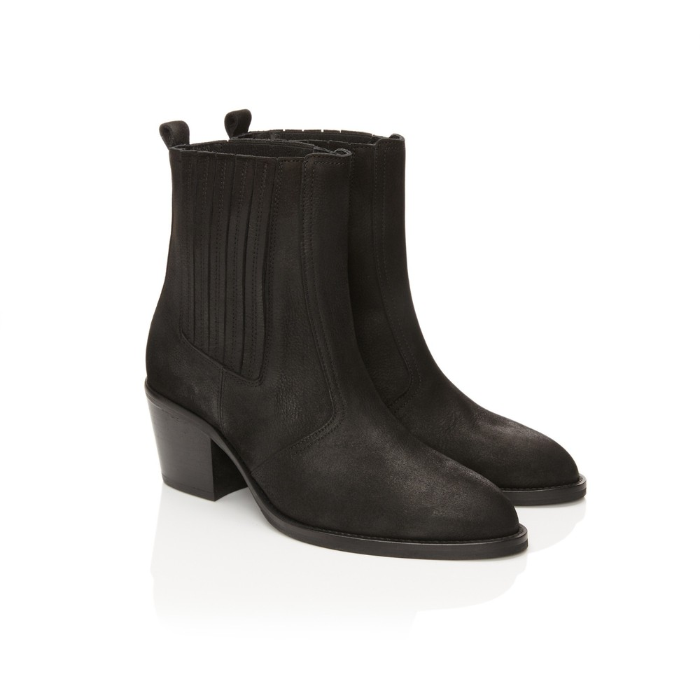 Air & Grace Bardot Ankle Boots in Black Black