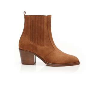 Air & Grace Bardot Ankle Boots in Tan